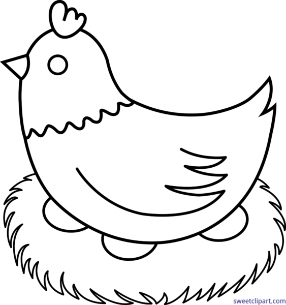 Chicken on nest clipart picture free hen on nest clipart #154 | fine motorskills | Chicken coloring pages ... picture free