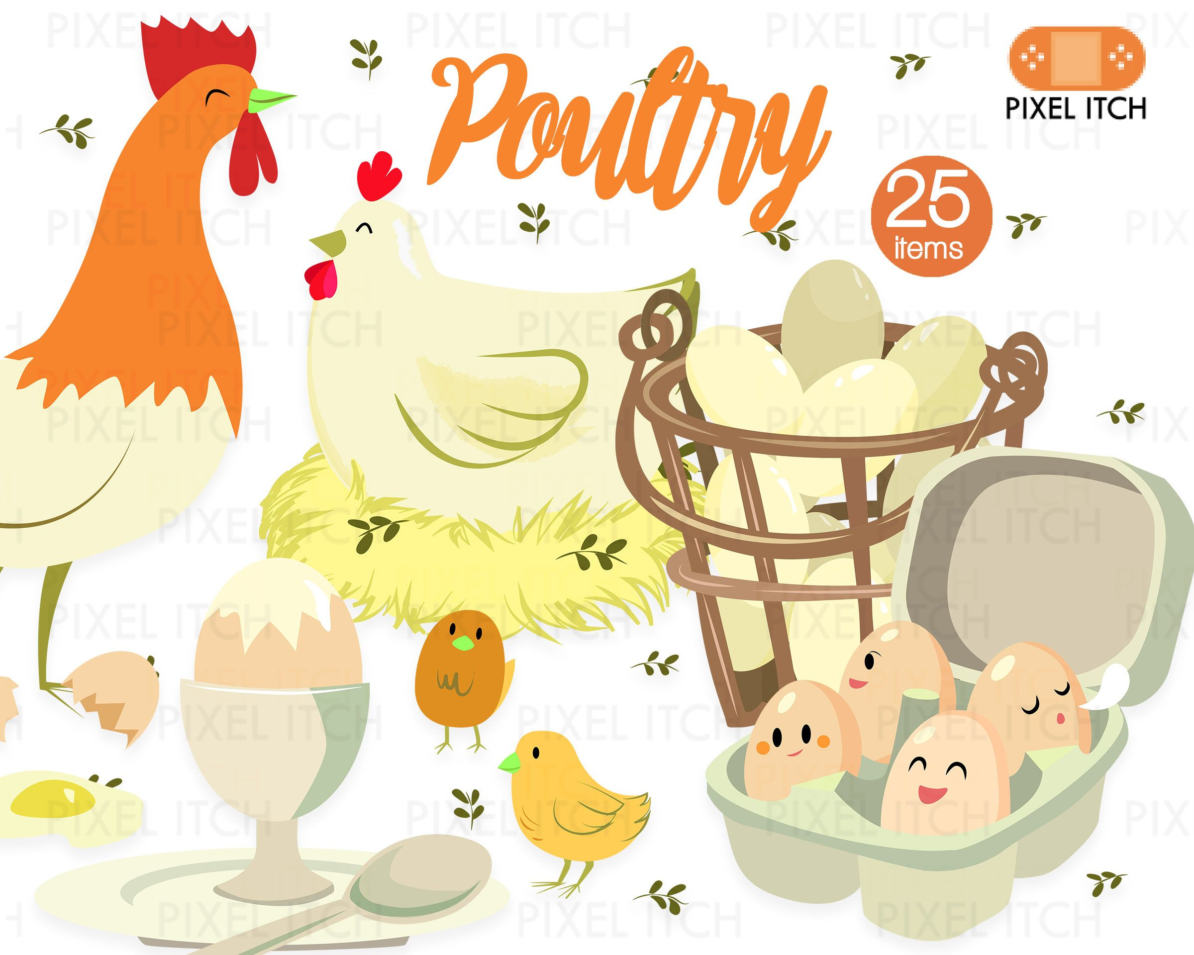 Chicken pultry pictures clipart svg black and white download Poultry Illustration - Farm Clipart, Farm Produce, Chicken Clipart ... svg black and white download