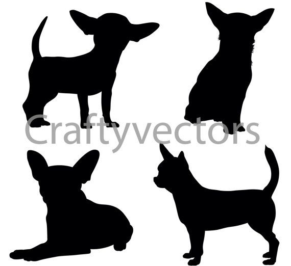 Chihuahua silhouette clipart svg transparent library Chihuahua Dog Silhouettes Vector SVG | Dog Lover | Dog silhouette ... svg transparent library