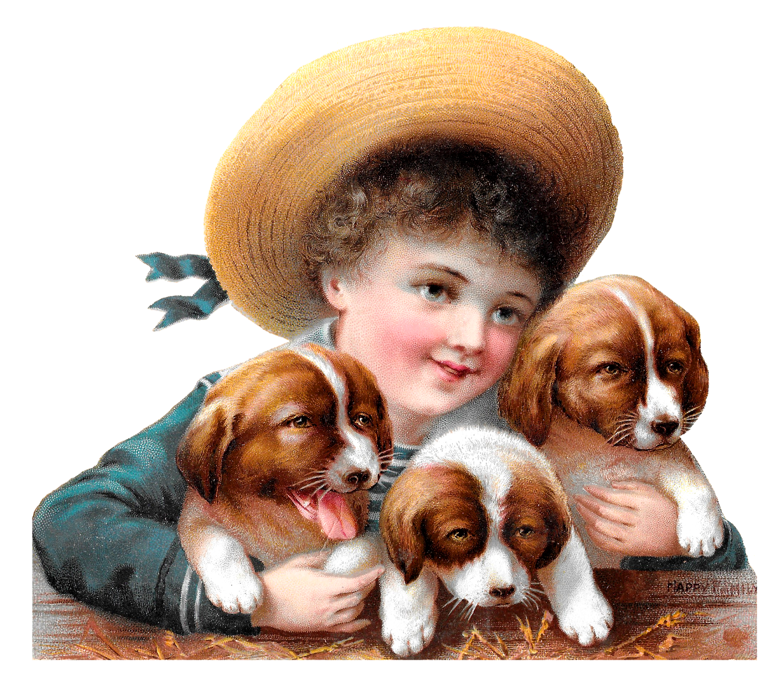Child and dog clipart vector royalty free library Antique Images: Royalty Free Boy Holding Puppies Victorian Child ... vector royalty free library