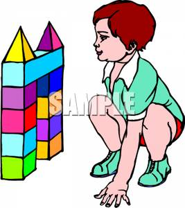 Child building with blocks clipart svg freeuse stock Colorful Cartoon of a Child Playing with Building Blocks - Royalty ... svg freeuse stock