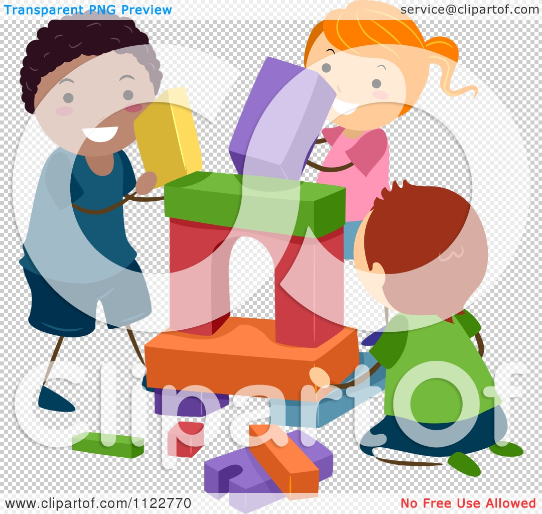 Child building with blocks clipart. Cartoon of happy diverse