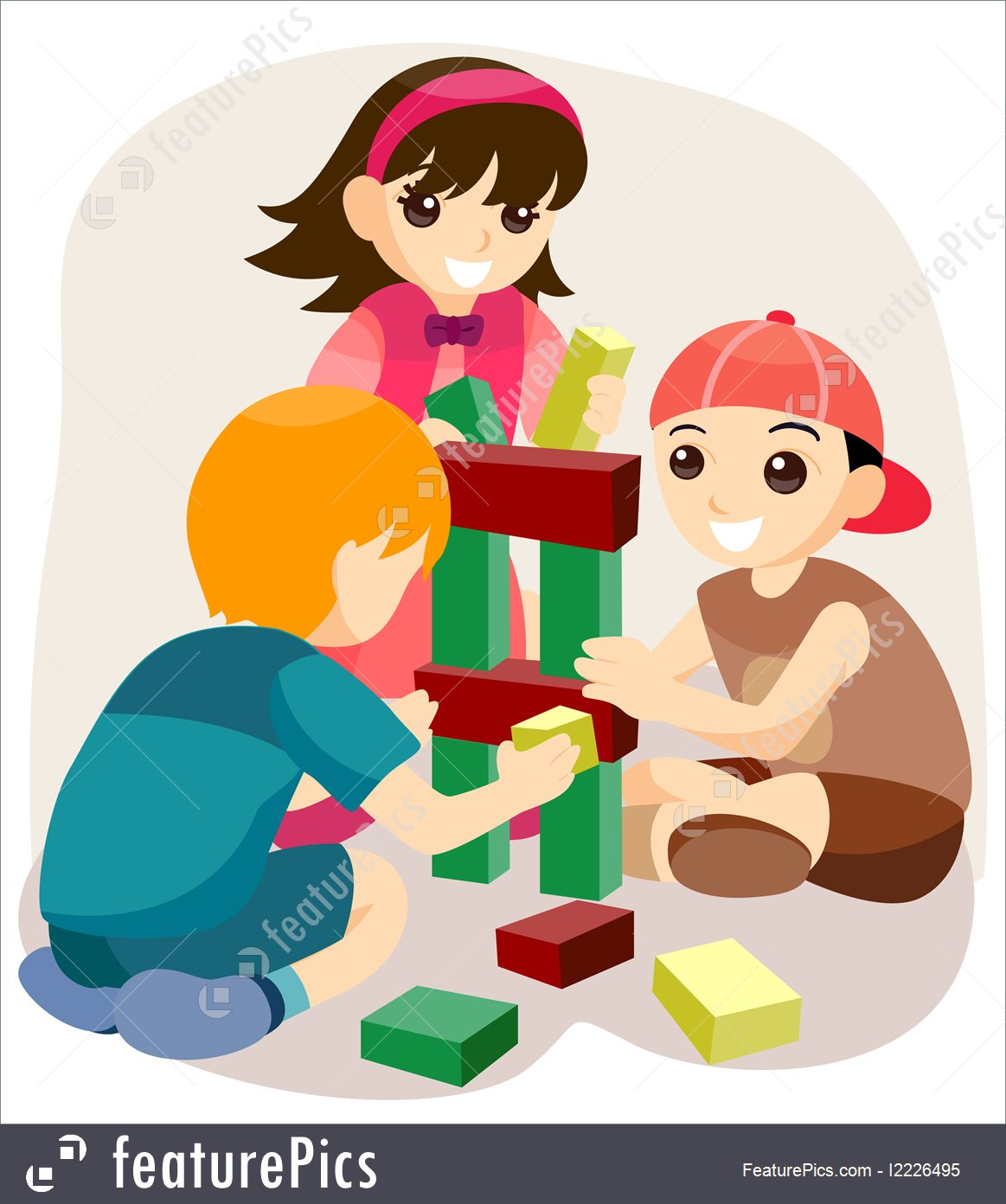 Child building with blocks clipart. Toys and souvenirs stock