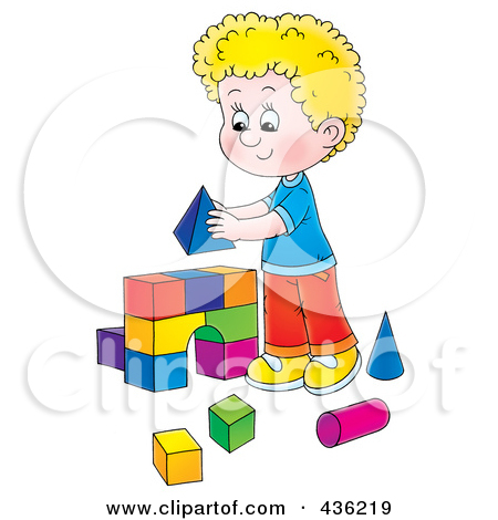 Child building with blocks clipart. Royalty free rf of