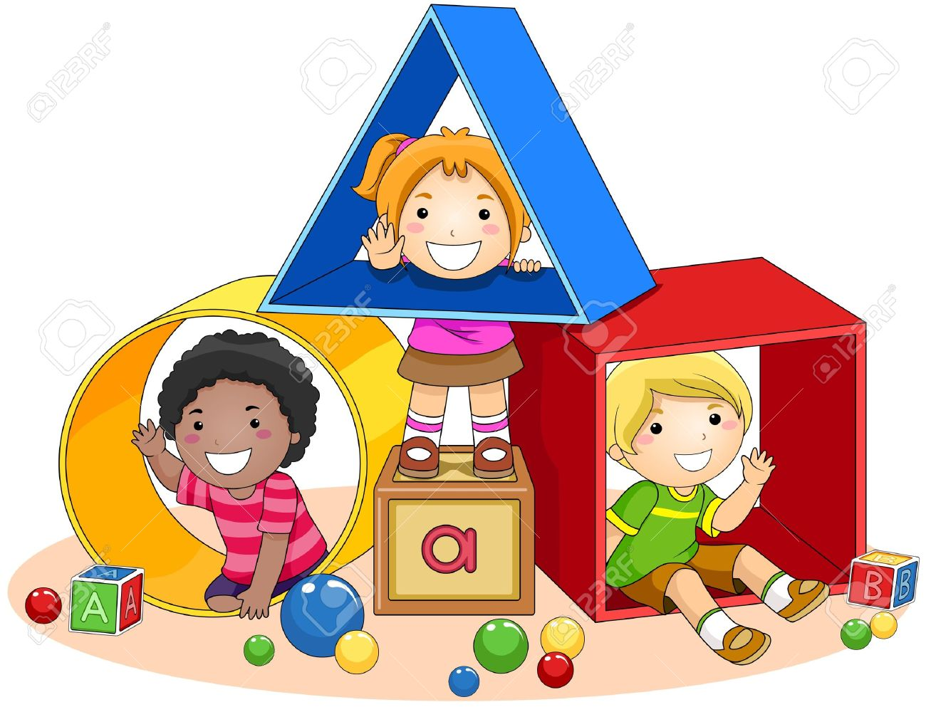 Children and toy stock. Child building with blocks clipart