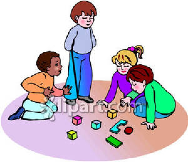 Kids playing panda free. Child building with blocks clipart