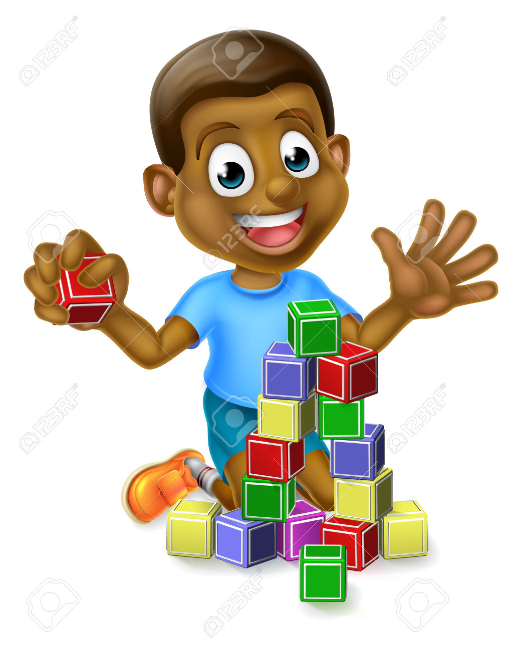 A happy cartoon black. Child building with blocks clipart