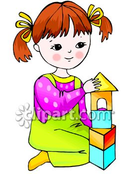 Child building with blocks clipart. Young girl royalty free