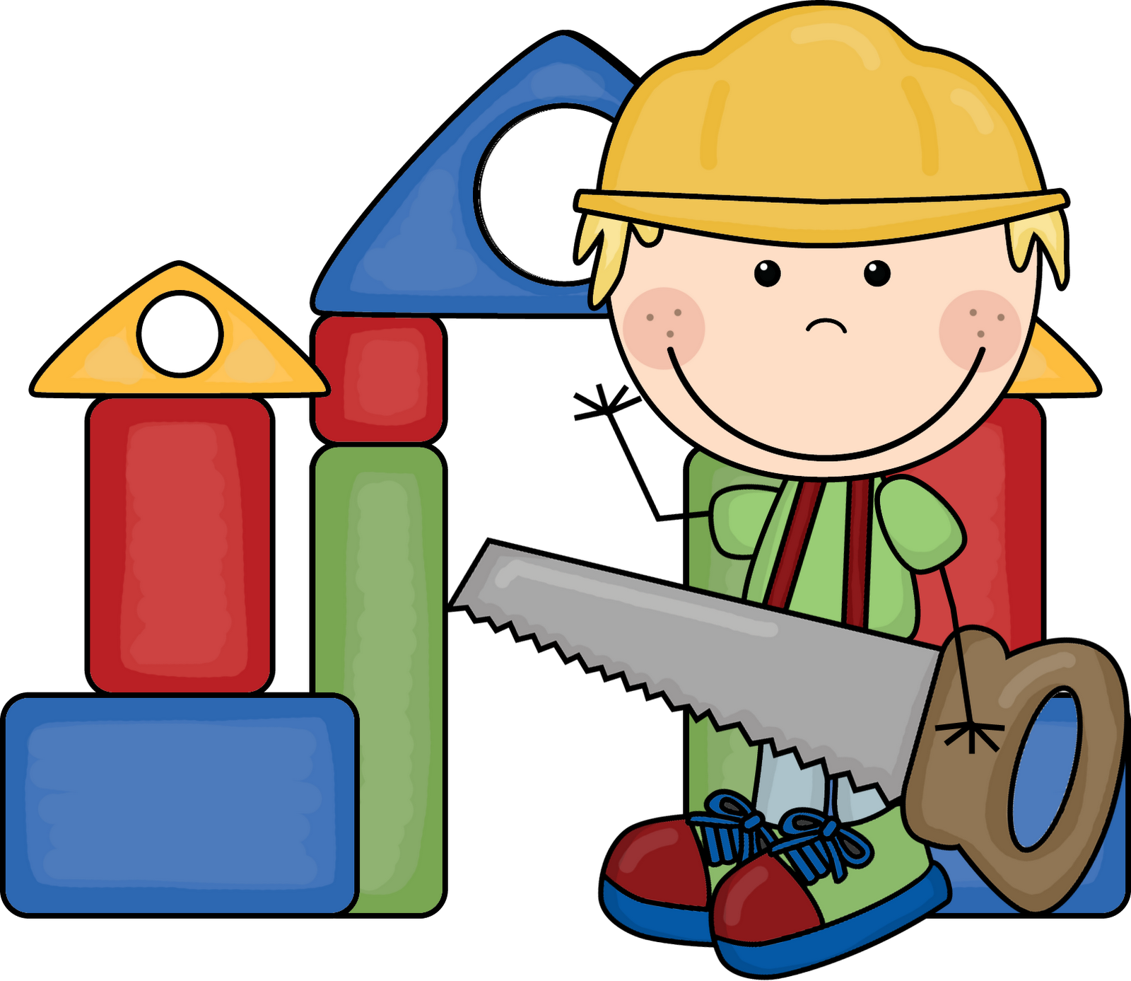 Child building with blocks clipart. Kids clipartfest materials