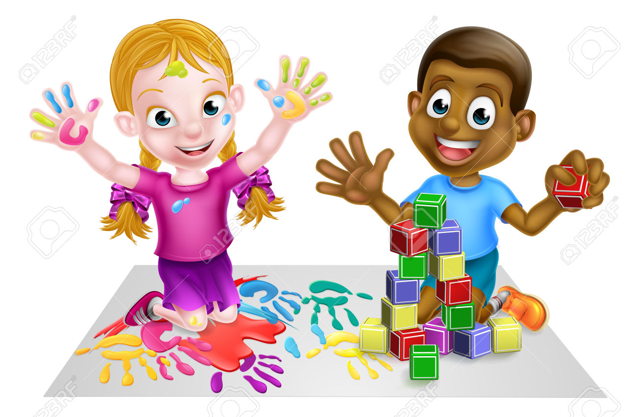 Two kids playing paints. Child building with blocks clipart