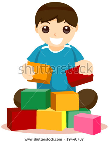 Child building with blocks clipart. Stock photos royalty free