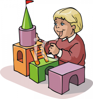 Child building with blocks clipart. Kids playing panda free