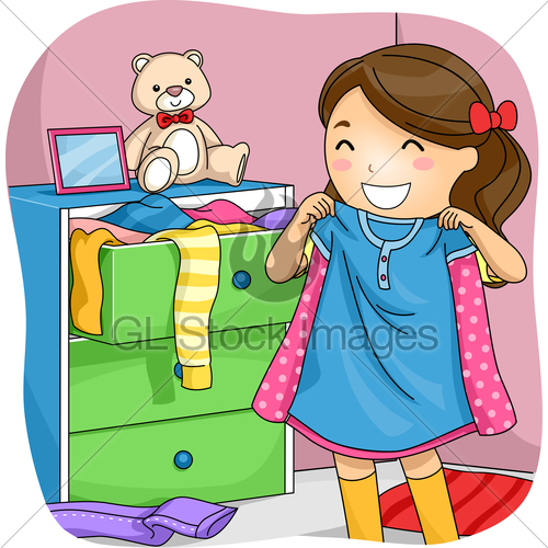 Child choosing clipart vector free download Kid Girl Pick Clothes Drawer · GL Stock Images vector free download