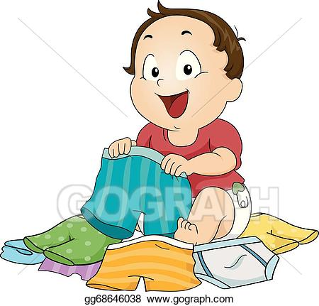 Child choosing clipart image library stock Vector Stock - Boy choosing underwear. Clipart Illustration ... image library stock