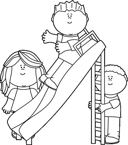 Child clipart play black & white clip art freeuse Black and White Black and White Kids Playing on a Slide | Clip Art ... clip art freeuse