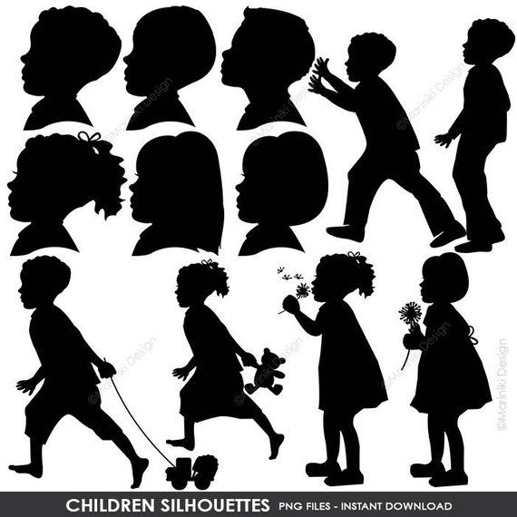 Child clipart silhouette image transparent stock Children Silhouettes Clipart, Children Clip Art, Boy Silhouettes ... image transparent stock