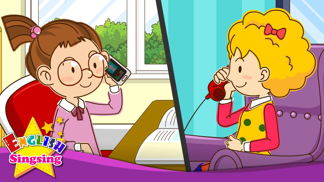 Child conversation clipart jpg royalty free [Telephone Conversations] Can I Speak to Sally? Speaking. - Easy Dialogue  for kids jpg royalty free
