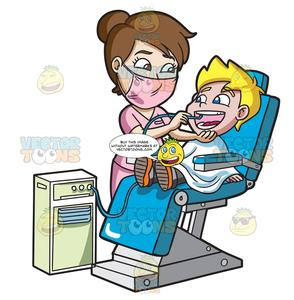 Dentst clipart graphic free A Happy Boy Getting His Teeth Cleaned At The Dentist graphic free