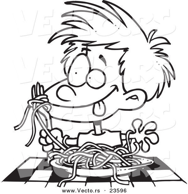 Child eating spaghetti black and white clipart png free library Vector of a Cartoon Messy Boy Chowing down on Spaghetti - Coloring ... png free library