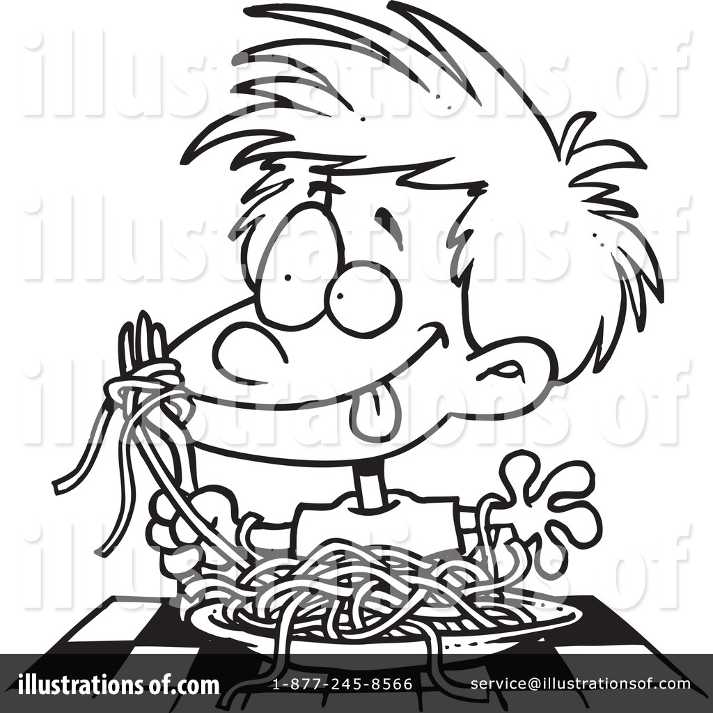 Child eating spaghetti black and white clipart png library library Spaghetti Clipart #1048331 - Illustration by toonaday png library library