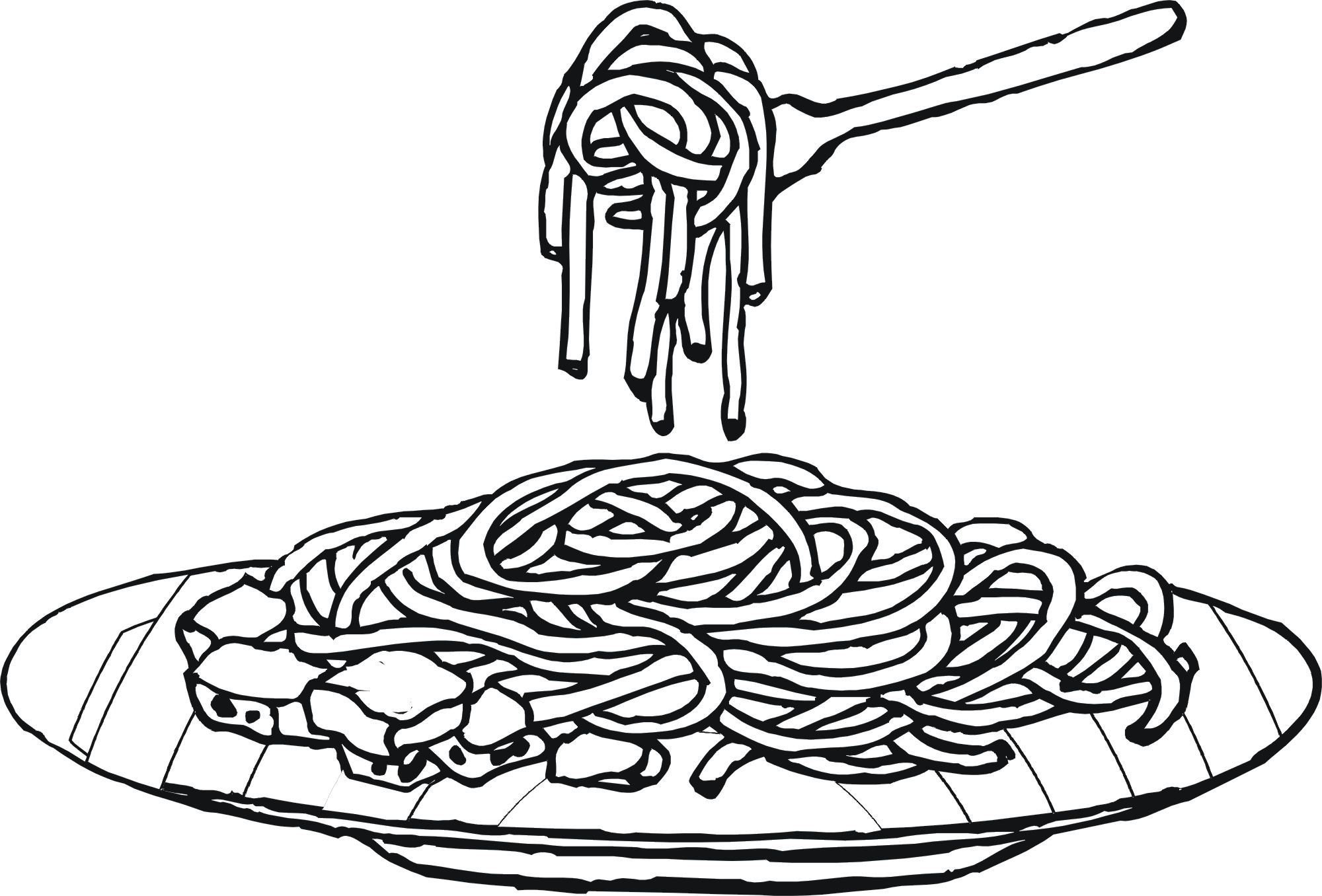 Free clipart printables for chicken n noodle dinner picture black and white Spaghetti Dinner Clipart Black And White - Free Clipart picture black and white