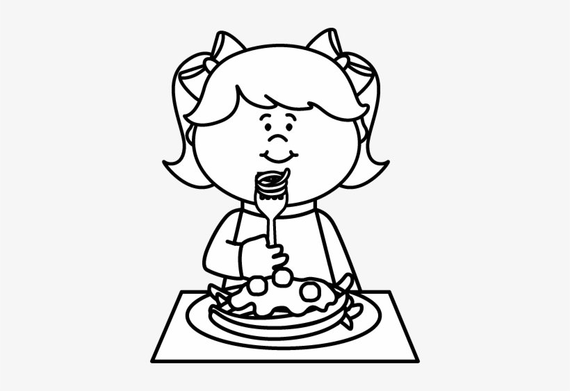 Kids eating pizza clipart black and white image free library Black And White Kid Eating Spaghetti Coloring - Clip Art Black And ... image free library