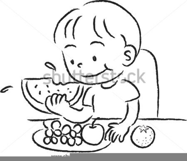 Child eating vegetables clipart black and white image library Child Eating Clipart   Free Images at Clker.com - vector clip art ... image library