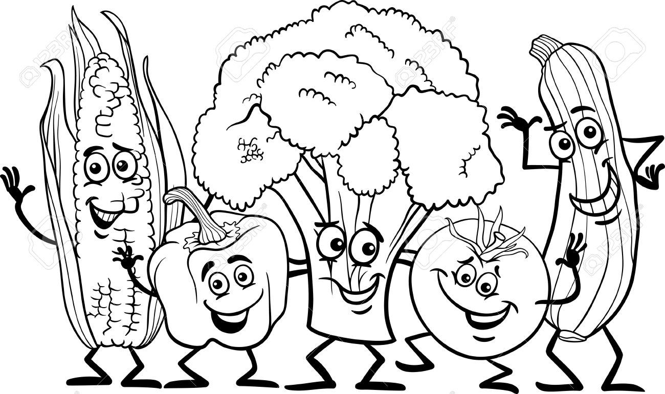 Child eating vegetables clipart black and white clip free Vegetables black and white fruit and vegetable clipart black white ... clip free