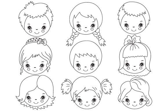 Child face clipart black and white jpg library download Vector Black & White Kids Faces | Child Design | Clip art, Clipart ... jpg library download