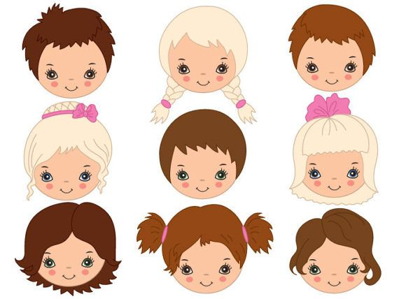 Child face clipart jpg transparent stock Kids Faces Clipart - Digital Vector Girl, Boy, Child, Children, Face ... jpg transparent stock
