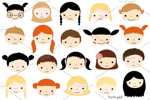 Child faces clipart png freeuse stock Cute kid faces clipart set png freeuse stock