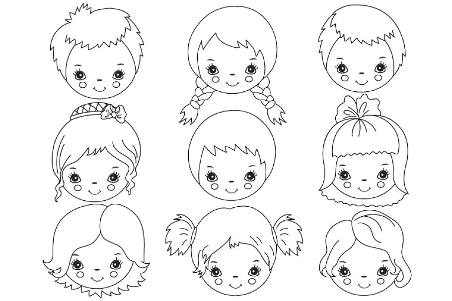 Child faces clipart svg free library Vector Black & White Kids Faces svg free library