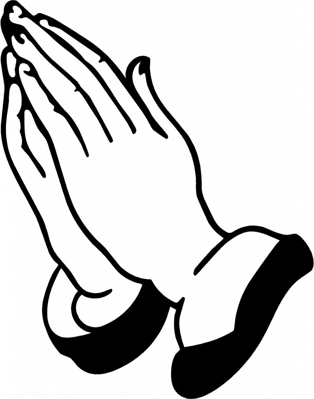 Hands joined in prayer clipart black and white vector library Prayer Clipart Black And White | Free download best Prayer Clipart ... vector library