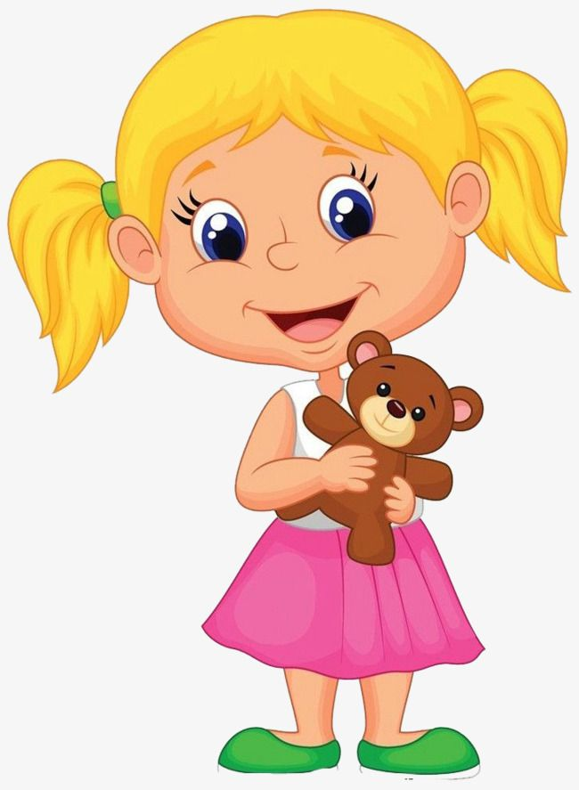 Child girl clipart banner library library The Girl With A Teddy Bear | girl | Cartoon kids, Funny stories for ... banner library library