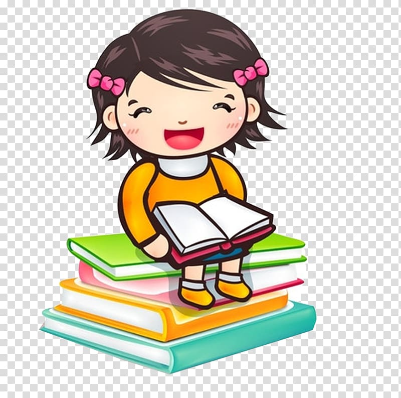 Child girl clipart jpg library library Reading Child Girl Book , Cartoon girl sitting on books transparent ... jpg library library