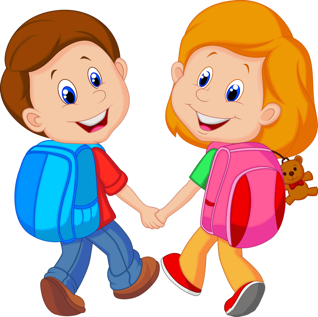 Girl getting ready for school clipart png free Backpack Child Cartoon Clip art - Little friends go to school ... png free