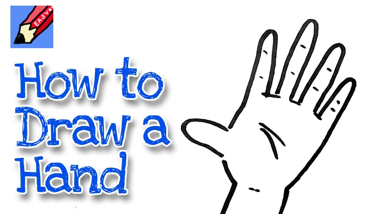 Child hand holding up 4 fingers clipart image library download How to draw a Hand Real Easy - for kids and beginners image library download