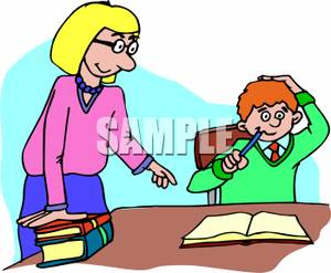 Child helping teacher clipart graphic download A Teacher Asking A Child If They Need Help With Homework - Royalty ... graphic download