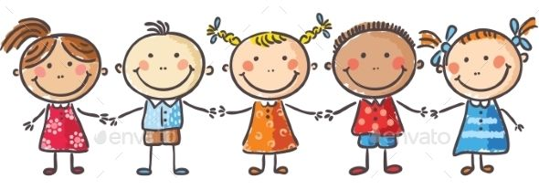 Young kids clipart picture free Five little kids holding hands | Vector People | Cartoon kids, Clip ... picture free