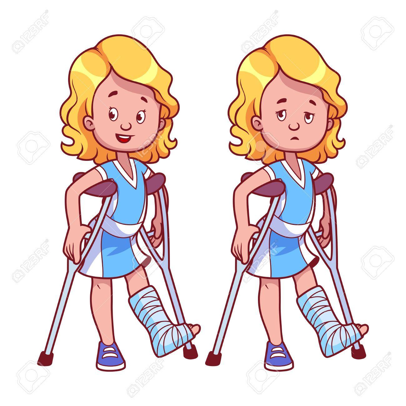 Child in cast clipart jpg black and white Stock Vector | broken leg in 2019 | Broken leg, Sad girl, Illustration jpg black and white