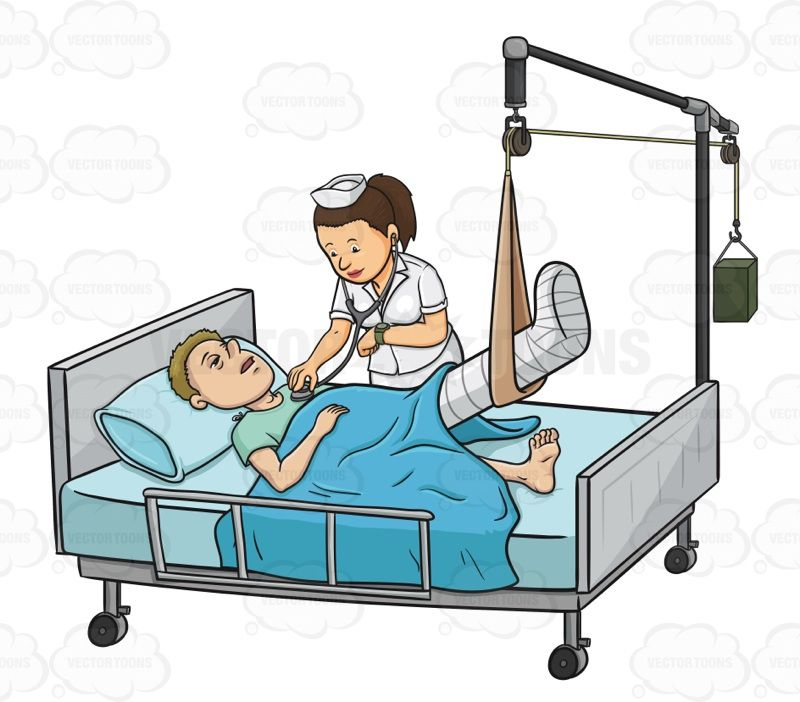 Child in cast clipart clip art free stock Sick Male Patient Laying In In A Hospital Bed While A Nurse Checks ... clip art free stock