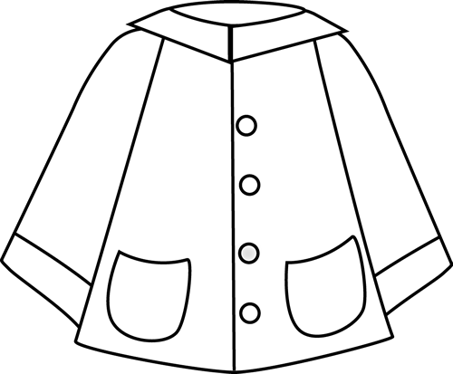 Child in jacket clipart black and white image freeuse Black and White Raincoat | Clip Art-Weather | Spring crafts ... image freeuse