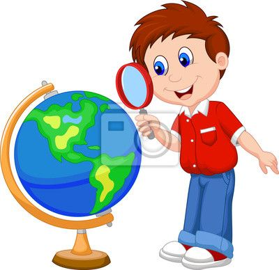 Child looking clipart jpg library library Cartoon Boy Using Magnifying Glass Looking At Globe Abend Wall Mural ... jpg library library