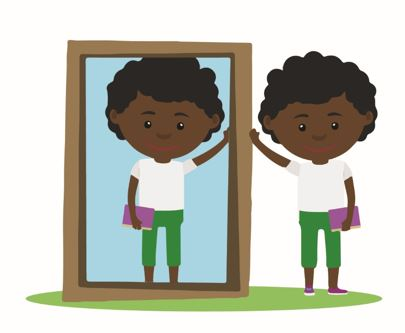 Child looking in mirror clipart
