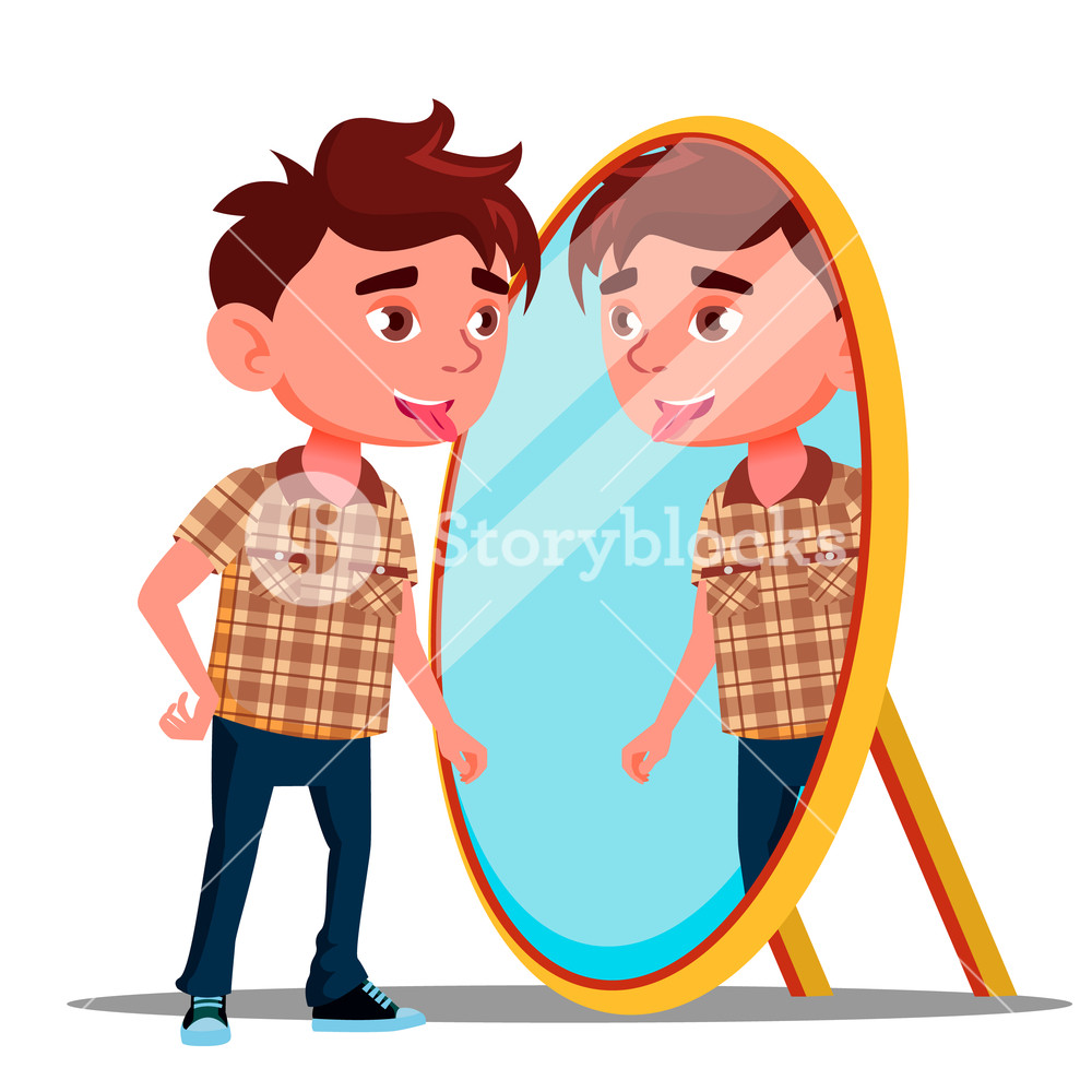 Child looking in mirror clipart jpg transparent stock Boy Shows Tongue In His Reflection In The Mirror Vector. Isolated ... jpg transparent stock
