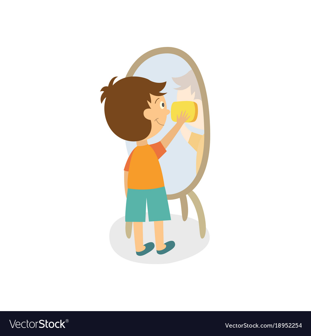 Child looking in mirror clipart png free Flat boy wiping mirror by rag png free