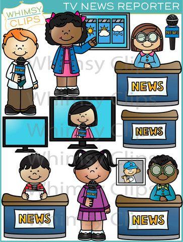 Child news reporter clipart black and white library TV News Reporter Clip Art | Theme Clip Art | Clip art, Art, News ... black and white library