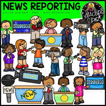 Child news reporter clipart svg black and white News Reporting Clip Art Bundle {Educlips Clipart} svg black and white