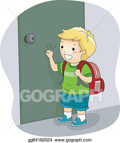 Child opening door clipart png library EPS Vector - Boy knocking on a door. Stock Clipart Illustration ... png library