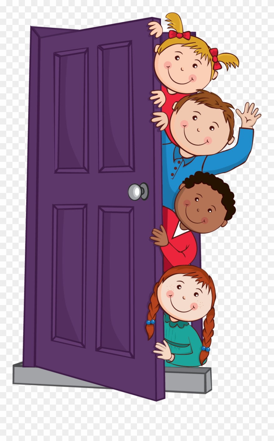 Child opening door clipart picture free Kids Peeping Behind Door - Graphics Clipart (#636847) - PinClipart picture free